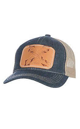 McIntire Saddlery Denim and Cross Tooled Leather Cap