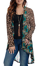 Crazy Train Women's Southwestern Leopard Print High Low Long Sleeve Kimono