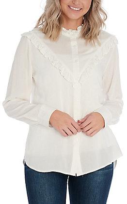 Cotton & Rye Women's White Button Front Fashion Top