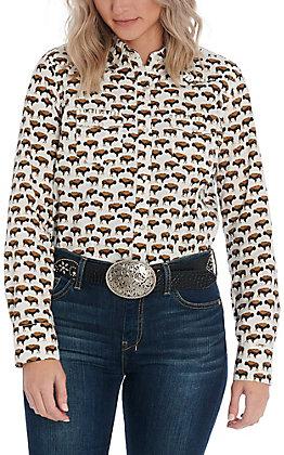 Cotton & Rye Women's White Buffalo Print Long Sleeve Western Shirt