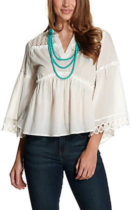 Cotton & Rye Women's White with Crochet V-Neck Bell Sleeve Fashion Top