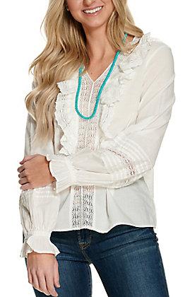 Cotton & Rye Women's Cream Ruffles and Crochet Front Long Sleeve Fashion Top