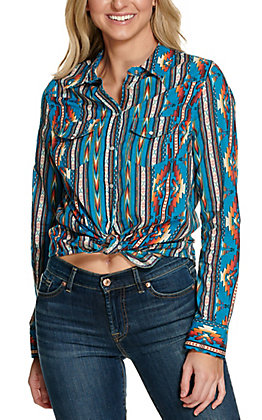 Cotton & Rye Women's Turquoise Aztec Print Long Sleeve Western Shirt