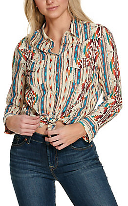 Cotton & Rye Women's Cream Aztec Print Long Sleeve Western Shirt