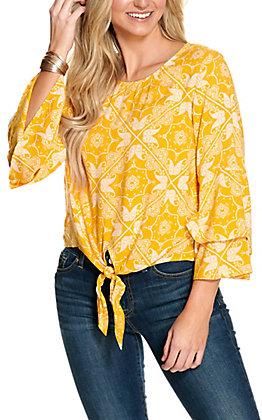 Cotton & Rye Women's Yellow and Cream Bandana Print Tie Front Long Ruffle Sleeve Fashion Top