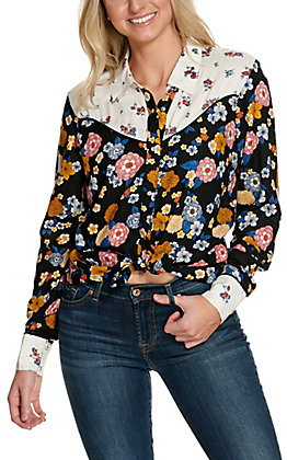 Cotton & Rye Women's Black with Multi Floral Print Long Sleeve Retro Western Shirt