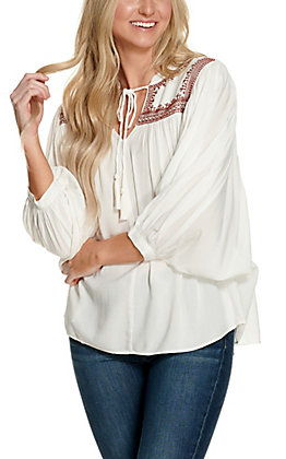 Cotton & Rye Women's White with Burgundy Embroidery and Tie Long Sleeve Fashion Top