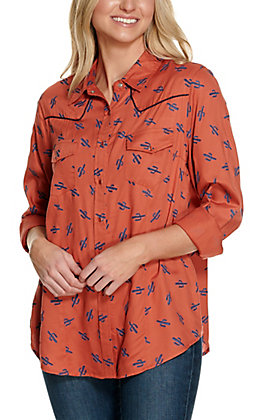 Cotton & Rye Women's Red with Blue Cactus Print Long Sleeve Western Shirt