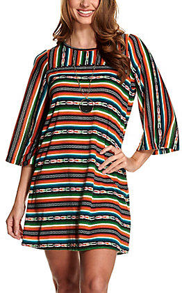 Cotton & Rye Women's Serape Print Knit Long Sleeve Dress