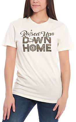 Cotton & Rye Women's White Raised Up Down Home Short Sleeve T-Shirt