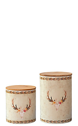 HiEnd Accents Floral Skull 2 Piece Canister Set