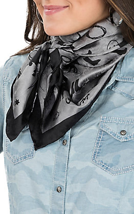 Wyoming Traders Charcoal Grey with Black Cowboy Silhouettes Silk Wild Rags Scarf