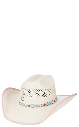 Charlie 1 Horse Gracie Junior Pink Lined Straw Cowboy Hat
