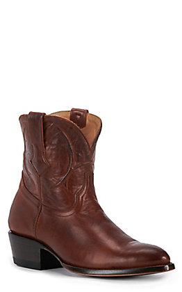 JRC & Sons Women's Conley Ranch Hand Leather Almond Toe Western Bootie in Tan