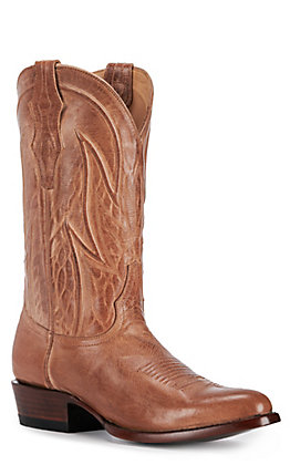 JRC & Sons Men's Knox Mad Dog Goat Leather Round Toe Western Boot in Tan