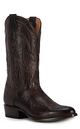JRC & Sons Men's Knox Mad Dog Goat Leather Round Toe Western Boot in Chocolate Brown
