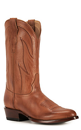 JRC & Sons Men's Lundy Burnished Leather Round Toe Western Boot in Tan