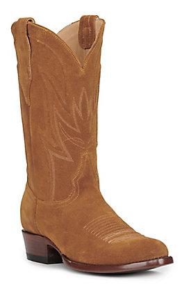 JRC & Sons Men's Wyatt Water Resistant Suede Leather Round Toe Western Boot in Tan