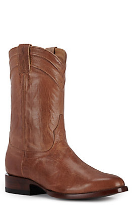 JRC & Sons Men's Kingston Mad Dog Goat Leather Round Toe Roper Boot in Tan