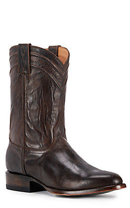 JRC & Sons Men's Kingston Mad Dog Goat Leather Round Toe Roper Boot in Chocolate Brown