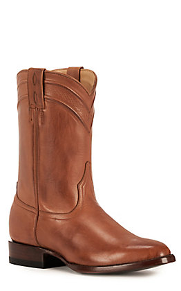 JRC & Sons Men's Todd Burnished Leather Round Toe Western Boot in Tan