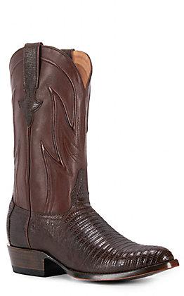 JRC & Sons Men's James Teju Lizard Round Toe Exotic Western Boot in Chocolate Brown
