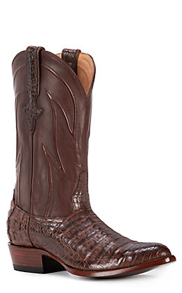 JRC & Sons Men's Weldon Caiman Belly Round Toe Exotic Western Boot in Cigar