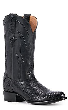 JRC & Sons Men's Weldon Caiman Belly Round Toe Exotic Western Boot in Black