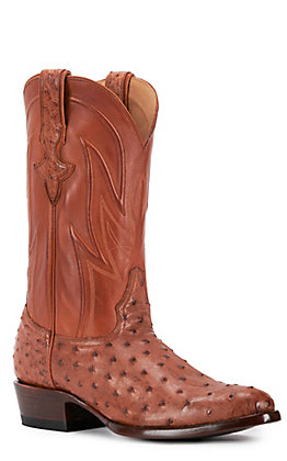 JRC & Sons Men's Jose Full Quill Ostrich Round Toe Exotic Western Boot in Peanut Brittle