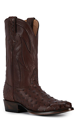 JRC & Sons Men's Jose Full Quill Ostrich Round Toe Exotic Western Boot in Tobacco
