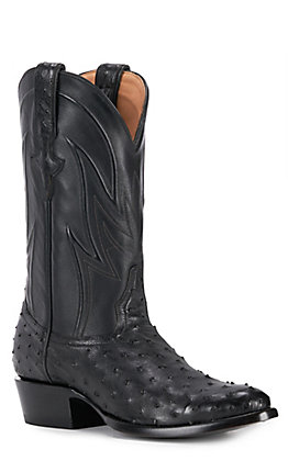 JRC & Sons Men's Jose Full Quill Ostrich Round Toe Exotic Western Boot in Black