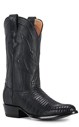 JRC & Sons Men's James Teju Lizard Round Toe Exotic Western Boot in Black
