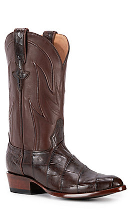 JRC & Sons Men's Clayton Giant Alligator Round Toe Exotic Western Boot in Chocolate Brown
