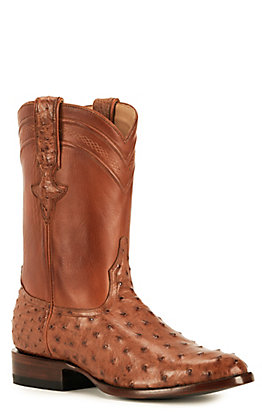 JRC & Sons Men's Miguel Full Quill Ostrich Round Toe Exotic Western Boot in Peanut Brittle