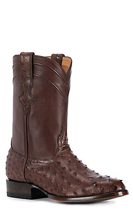 JRC & Sons Men's Miguel Full Quill Ostrich Round Toe Exotic Western Boot in Tobacco