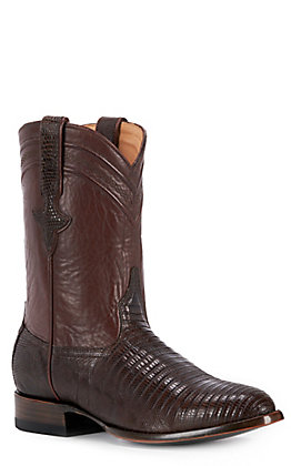 JRC & Sons Men's Welch Teju Lizard Round Toe Exotic Roper Boot in Chocolate Brown
