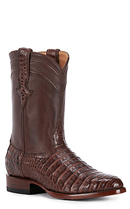 JRC & Sons Men's Shaw Caiman Belly Round Toe Exotic Roper Boot in Cigar