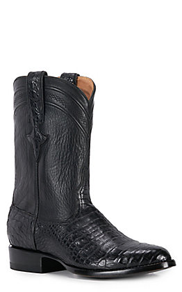 JRC & Sons Men's Shaw Caiman Belly Round Toe Exotic Roper Boot in Black