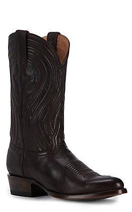 JRC & Sons Men's Colton Ranch Hand Leather Round Toe Western Boot in Dark Brown