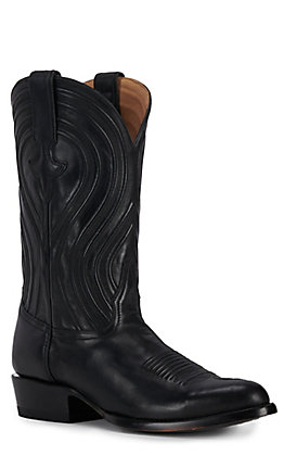 JRC & Sons Men's Colton Ranch Hand Leather Round Toe Western Boot in Black