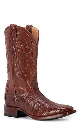 JRC & Sons Men's Drew Caiman Belly Wide Square Toe Exotic Western Boot in Brandy