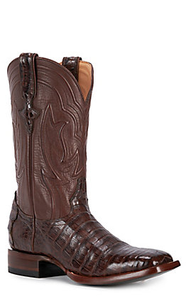 JRC & Sons Men's Drew Caiman Belly Wide Square Toe Exotic Western Boot in Cigar
