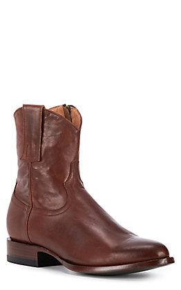 JRC & Sons Men's Winston Ranch Hand Leather Roper Toe Zip Western Boot in Tan