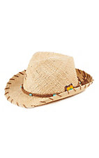 Charlie 1 Horse Women's Raffia Straw Hat with Beaded Flower Accent