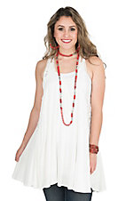 PPLA Women's White with Crochet and Lace Detailing Racerback Sleeveless Fashion Tank