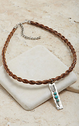 Cowboy Collectibles Cinnamon Horse Hair With Arrow Charm Choker