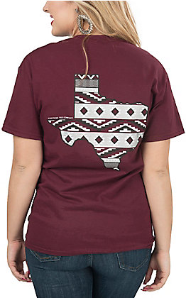 Couture Tee Company Women's Maroon with Aztec Texas Print S/S Tee