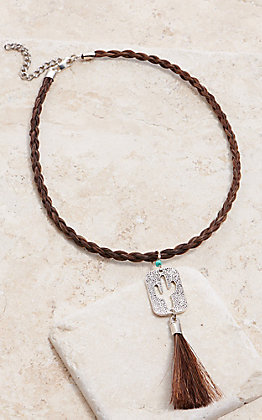 Cowboy Collectibles Sorrel Horse Hair With Cactus Charm Choker