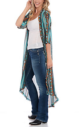 Crazy Train Women's Turquoise Aztec Print Duster