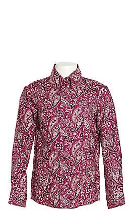 Cruel Girl Girls' Purple Paisley Print Long Sleeve Western Shirt